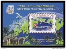 North Korea 2011 Mih. 5678 (Bl.795) Philatelic Exhibition In India. Elephants. Aviation. Planes. Space. Satellite MNH ** - Corea Del Nord