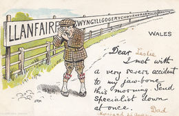 Llanfair Welsh Jaw Broken Mouth Medical Comic Railway Postcard - Humour