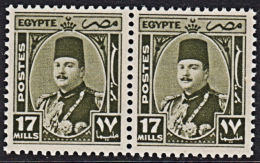 A0810 EGYPT 1944,  SG 299 17m King Farouk,  MNH Pair - Egypt