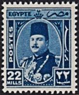 A0814 EGYPT 1944, SG 301  22m King Farouk, MNH - Egypt