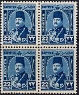 A5661 EGYPT 1944, SG 301  22m King Farouk, MNH Block Of 4 - Egypt