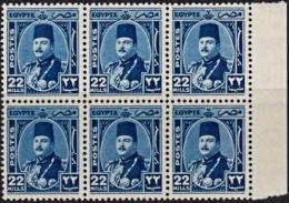 B0645 EGYPT 1944, SG 301  22m King Farouk, MNH Block Of 6 - Egypt
