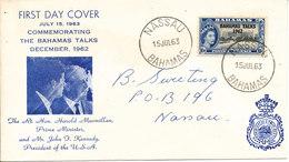 Bahamas FDC 15-7-1963 Bahama Talks December 1962 With Cachet - Bahamas (1973-...)