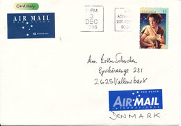 Australia Cover Sent Air Mail To Denmark 3-12-1996 Single Christmas Stamp Stamp - Covers & Documents