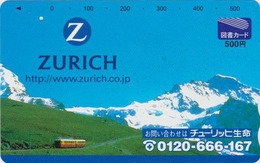 Carte Prépayée  Japon - Suisse - TRAIN & ZURICH INSURANCE - Japan Prepaid Tosho Card Switzerland Schweiz - Site Assu 203 - Trains