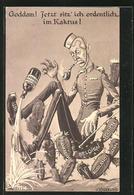 """CPA Illustrateur Friedrich Kaskeline: Propaganda 1. Weltkrieg, """"Goddam! Jetzt Sitz' Ich Ordentlcih Im Kaktus!"""" - Guerre 1914-18"""