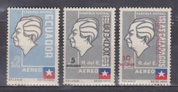 ECUADOR 1963 GALAPAGOS ISLANDS ERROR DISPLACED LEFT ON GABRIELA MISTRAL 10 SUCRES IN RED FULL SET MNH SC# C315 C406-C407 - Ecuador