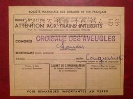 SNCF Congrès Croisade Des Aveugles Lourdes - Biglietti Di Trasporto