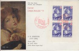 Enveloppe  FDC  1er  Jour   FRANCE   1/2   Bloc   CROIX ROUGE  TOURNUS   1971 - 1970-1979