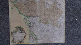 17-16-33-85-87-RARE CARTE GOUVERNEMENT GENERAUX DU POITOU- AUNIS-SAINTONGE-ANGOUMOIS-VAUGONDY 1753-ROYAN-ILE RE-OLERON- - Geographical Maps