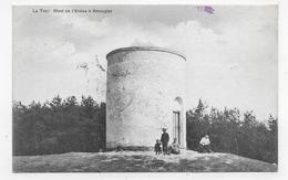 (RECTO / VERSO) AMOUGIES EN 1910 - LA TOUR AVEC PERSONNAGES - MONT DE L' ERELUS - BEAU CACHET ET TIMBRE - CPA VOYAGEE - Mont-de-l'Enclus