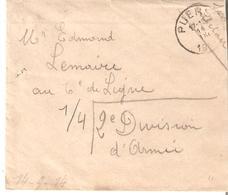 Enveloppe Avec Contenu Sm PUERS Du 14/9/14 V/6ème De Ligne/2e D.A.au Dos PMB 2 17/9 - RARE Voir Scans - WW I