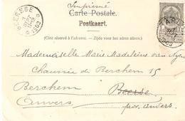 C.P. TP. 53 ARLON 1/9/1903 V/Dépôt-relais De BEERSSE Du 3/9/1903. TB - Postmark Collection