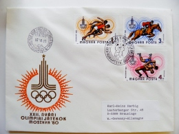 Cover Hungary Olympic Games Moscow Ussr 1980 Special Cancel Horse Sport Wrestling - Summer 1980: Moscow