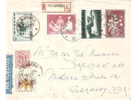 "L. Recommandée AGENCE ""MOLENBEEK 22"" Du 13/3/58 Vers DRESDEN (DDR) TB. - Postmarks With Stars"