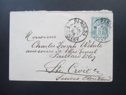 Frankreich 1899 Kleiner GA Umschlag Rückseitig Zusatzfrankaturen! Waag. Paar Nr. 72 II Stempel Ste Croix / St Croix - 1876-1898 Sage (Type II)