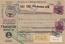 ALLEMAGNE 1913 COLIS POSTAL DE HAMBURG - Deutschland