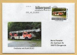 Privatpost - Biberpost - Feuerwehr Auto  - Drehleiter Mit Korb DLK2 Auf Brief - Feuerwehr