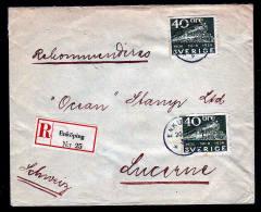 2x 40 Ö. Eisenbahn Auf Einschreibbrief 1937 Ab Enköping Nach Luzern - Suède