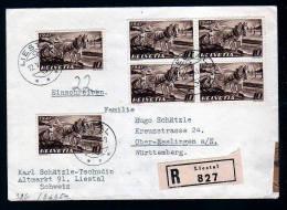 1941 - 6x 10 Rp. Auf Einschreibbrief Ab Liestal Nach Deutschland - Zensur - Suisse