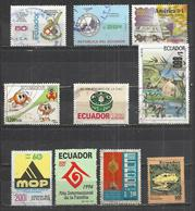 TEN AT A TIME - ECUADOR - LOT OF 10 DIFFERENT COMMEMORATIVE 3 - USED OBLITERE GESTEMPELT USADO - Equateur