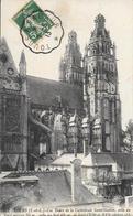 Cpa 37 Tours , La Cathédrale Saint Gatien , écrite 191 Cachet Convoyeur Tours à Saumur - Tours