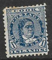 Cook Islands, 1896, 1d Blue, MH * - Cookeilanden