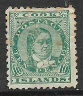 Cook Islands, 1896,10d, Green,  MH * - Cook