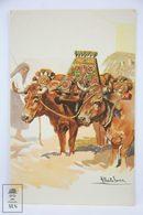 Postcard Portugal - Traditional Cow Cart - Douro Litoral - Illustrated Alberto Souza - Portugal