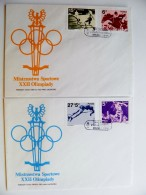 2 Covers Poland Olympic Games Special Cancel 1983 Fdc Football Horse Sport Athletics - 1944-.... Republic