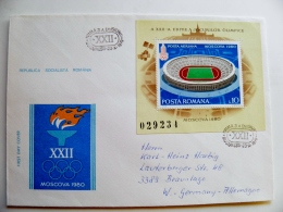 Cover Romania Olympic Games  Moscow Ussr 1980  M/s Stadium Fdc - 1948-.... Repubbliche