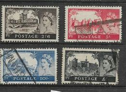 Great Britain, Elizabeth II, 1958, Castles 2/6. 5/=. 10/=. £1, De La Rue, W165, Used - Used Stamps
