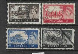 Great Britain, Elizabeth II, 1955 - 8, Castles 2/6. 5/=. 10/=. £1, Waterlow, W165, Used - Used Stamps