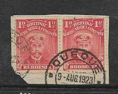 Southern Rhodesia, QUEOUE (error For QueQue) 9 AUG 1923 Cancelling 1d Admiral On Fragment - Southern Rhodesia (...-1964)