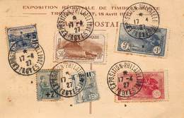 """France - Carte Et Cachet De L'Exposition Philatélique D'Avril 1927 - Timbres """"Orphelins"""" N°163,164,165,230,231,232 - Briefe U. Dokumente"""