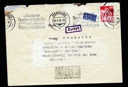 A5585) Bizone Postkrieg Brief Hamburg 26.01.49 ZURÜCK Mit Hinweiszettel Notopfer - Zone Anglo-Américaine
