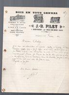 Montipouret Par Mers Sur Indre (36 Indre) Lettre à Entête JB PILET Bois En Tous Genres 1911  (PPP14551) - France