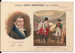 """Chromos Chocolat Poulain Orange Série Peintres Célèbres """"Musée Du Louvre Prud'hon Napoléon Austerlitz"""" N°9 - Poulain"""