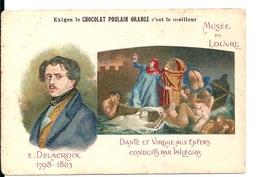 """Chromos Chocolat Poulain Orange Série Peintres Célèbres """"Musée Louvre Delacroix Dante Virgile Enfers"""" N°11 - Poulain"""