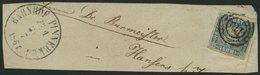 SCHLESWIG-HOLSTEIN 6 BrfStk, 170 (BAHNPOST-SPEDITIONSBUREAU PINNEBERG Z 1) Auf 11/4 S. Grauultramarin, Großes Briefstück - Schleswig-Holstein