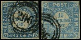 SCHLESWIG-HOLSTEIN 5I,6 O, 206 (BAHNPOST-BUREAU ELMSHORN-ITZEHOE) Auf 11/4 S. Grauultramarin, 2 Werte Feinst (Mi.Nr. 6 D - Schleswig-Holstein