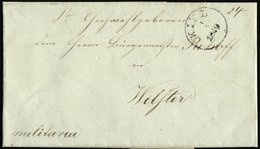 SCHLESWIG-HOLSTEIN 1849, Brief Von KIEL (K1) Nach Wilster, Handschriftlich Militaria, Rückseitig Komplettes Lacksiegel V - Schleswig-Holstein