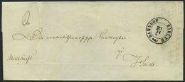 SCHLESWIG-HOLSTEIN 1850, Brief Von Kiel Nach Heide Mit K2 BAHNHOF KIELER ZI, Handschriftlich Militariapost, Rückseitig K - Schleswig-Holstein