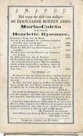 DP3/ °GENT 1806 + TONGEREN? 1874  ABDIS MARIA COLETA=HENRIETTE RYSENAER Abdis Clarissen Te Tongeren - Religion & Esotérisme