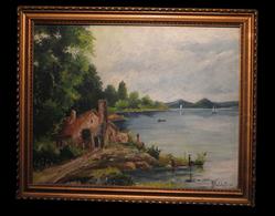 [Huile Sur Panneau] - [Paysage Lacustre]. 1936. - Oils