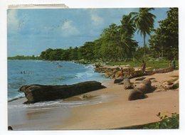 Gabon--1977--Plage De Gué-Gué Près De Libreville (animée ) --Beau Timbre NOEL 77 Au Verso -- Cachet  Libreville - Gabon