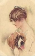 Dogs, Lady With A Saint Bernard Dog, Old Postcard - Hunde