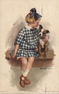 Dogs, Girl With A Terrier Puppy, Just Between Us, Cute Old Postcard - Chiens