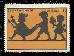 German Poster Stamp, Stamps, Reklamemarke, Cinderellas, Goldene Jugendzeit, Golden Youth, Kids, Kinder, Königspiel - Cinderellas