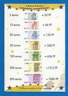PETIT CALENDRIER CONVERTISSEUR FRANCS EUROS - 2002 - PHARMACIE GATIEN - RIVARENNES - 37 - Calendars